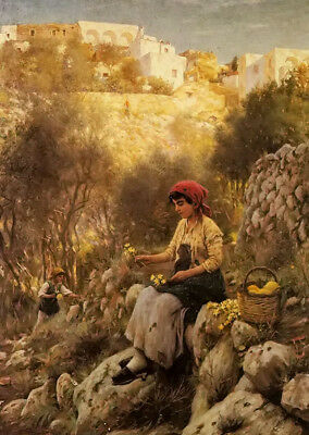 Dream-art Oil painting james hayllar - young girls picking flowers in landscape