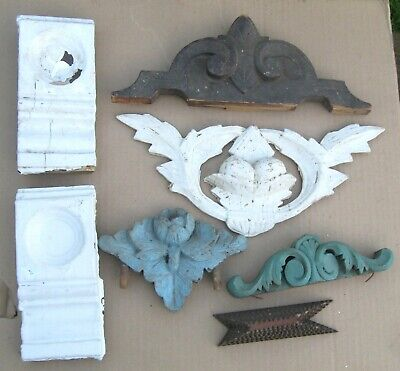 ANTIQUES architectual salvage carved wooden furniture trim molding lot of 7 pcs.
