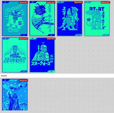 Topps Star Wars Card Trader Triple Global Art- Comic Blast-  Neon Blue Set of 6