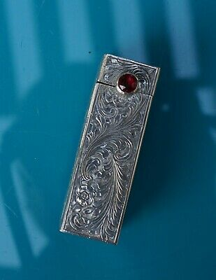 Antique Vintage Italy 800 Sterling Silver Lipstick Holder with Red Stone