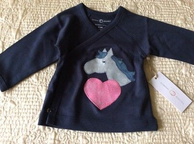 Horse Head /Heart Baby Girl Size 3-6 Months, Kimono Shirt, Hand Decorated!