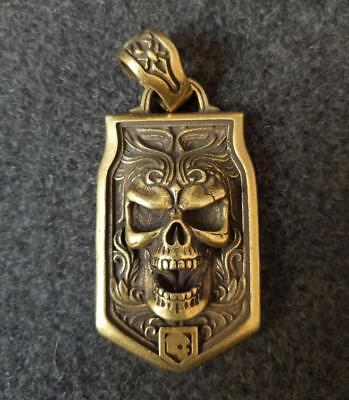 Chinese old antique pure brass carving Skull head small pendant RN