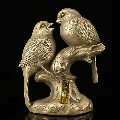 chinese old Copper plating silver hand-made gold drawing two magpies statue f01A
