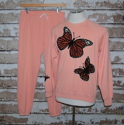 Vtg Monarch Butterfly Sweatshirt and Sweat Pants Large & Medium 80's or 90's
