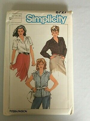 Simplicity Sewing Pattern 6727 Button Front Shirts Vintage 1980s Uncut 20.5-24.5