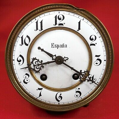 Antique Vienna Clock Wall Clock Movement Great Porcelain Dial Time Strike 5+3/4