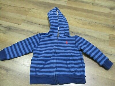 "Polo Ralph Lauren Baby Boy Toddler Blue Striped Hoodie Red Pony ""Sz 18 Months"""