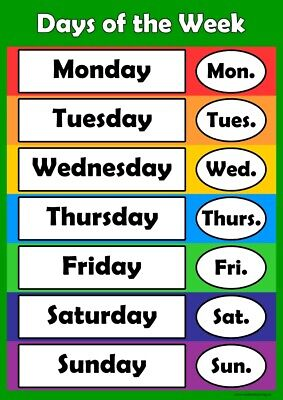 Days of the Week Poster Wall-chart Childrens Wall Chart Educational Childs