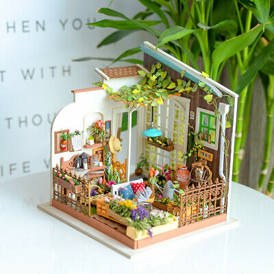 Rolife Wooden Dollhouse DIY Garden Doll House Miniature Planters Furniture LED