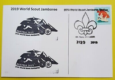 24th world scout jamboree 2019  Postmark on USPS official postcard and AUSTRIA