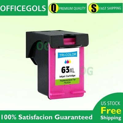1 Pack 63 XL Color Ink Cartridge For HP OfficeJet 3830 4650 5230 5255 5258 ENVY