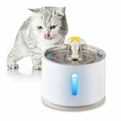 New 2.4L Stainless Automatic Pet LED Water Fountain Cat Drinking Bowl Dispenser