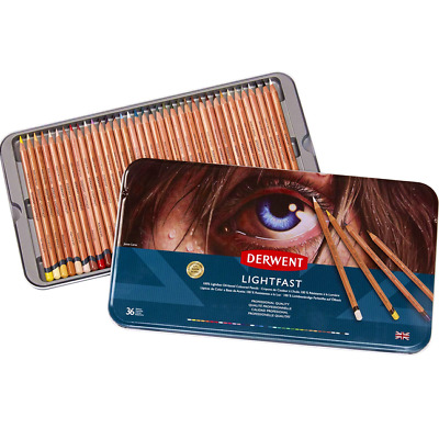 NEW IN TIN 36x Derwent LIGHTFAST Colouring Pencils Professional Colours 2302721