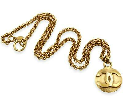 "Authentic Chanel Gold Tone Round CC Pendant on Extra Long 31"" Curb Chain + Box"
