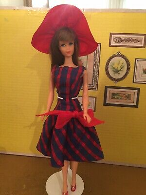 Vintage Brown Hair TNT Barbie Wearing Beau time. Matching Hat.