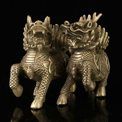 A pair chinese old Copper plating silver carving kirin God beast statue h01A