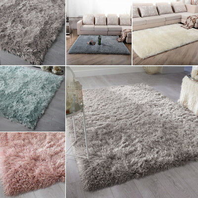 6cm Long Pile Quality Thick Dazzle Sparkle Silky Shiny Shimmer Shaggy Rug Mat UK