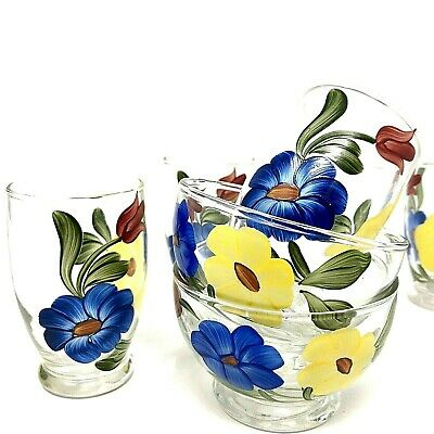 Floral Hand Painted Juice Glasses and Glass Fruit Bowls 4-pc Matching Set