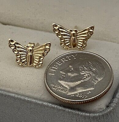 14K SOLID GOLD Top Quality Designer Butterfly Stud Earrings NEW NEVER WORN