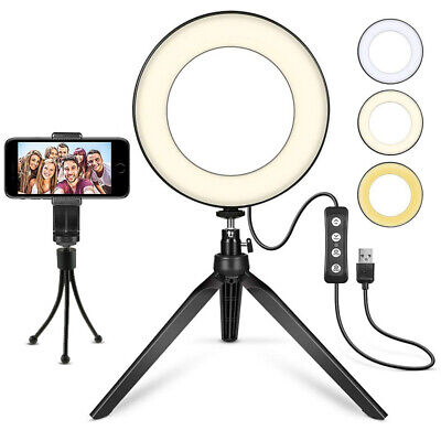 "LED Ring Light 6"" Selfie Camera for YouTube Video Makeup with Tripod Stand"