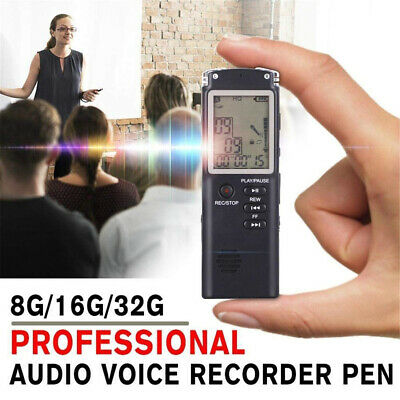 Digital Voice Recorder 8/16/32GB MP3 Player USB Audio Rechargeable Dictaphone AU