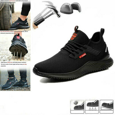 Mens Lightweight Safety Shoes Steel Toe Cap Trainers Hiking Shoes Work Boots