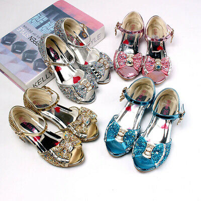 Children Kids Girls Cosplay Bling Gilter Sandals Princess Party Pearl Shoes
