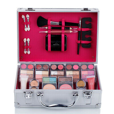 Carry All Trunk Train Case with Makeup Kit Cosmetics and Reusable Aluminum Case