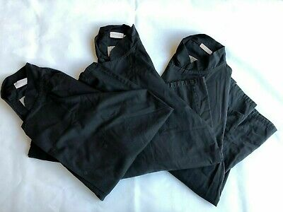 Set Of 3 Ex-Rental, Long Sleeve Black Chefs Jackets, Select Size Small-Xl
