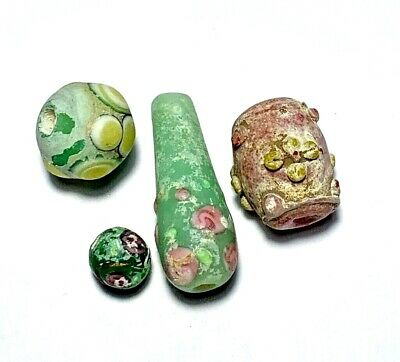 Fantastic Lot Of 4 Beads Roman & Phoenician Glass Circa 100-300 Ad