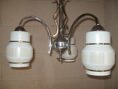 Vintage Art Deco Style Lamp Chrome Three Arm Chandelier with Glass Shades
