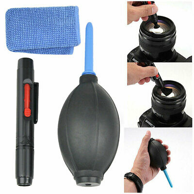 3 in 1 Lens Cleaning Cleaner Dust Pen Blower Cloth Set for DSLR VCR Camera Canon
