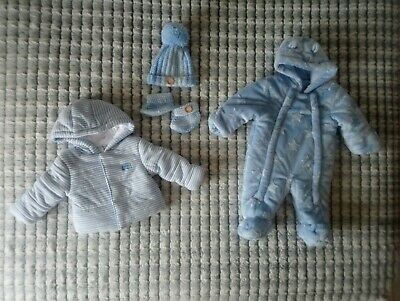 Baby Boys Warm Coat & Pramsuit Set 0 - 3 Months