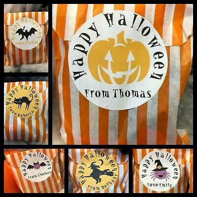 Halloween Sweet Bags Personalised Stickers Orange & White Paper Candy Stripe Bag