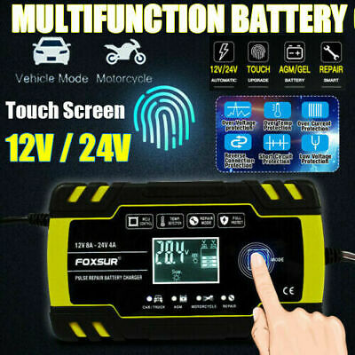 Automatic Electronic Car Battery Charger 12V/24V 8Amp Fast/Trickle/Pulse Modes