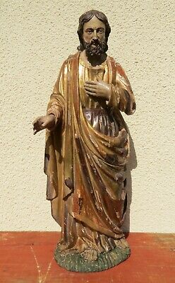 ANTIQUE CARVED WOODEN STATUE SAINT JOSEPH  GILT AND POLYCHROME CIRCA 1800 70cm