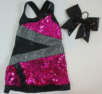 A Wish Come True Girls Sz ISC Pink Black Silver Dance Costume Outfit W/ Hairbow