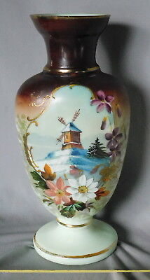 Antique Bristol glass vase hand painted dutch flowers windmill gilt gold snow