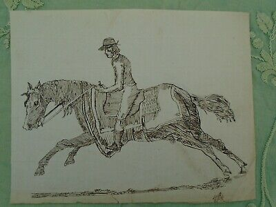Antique Drawing Horse and Rider. Primitive. On Hand-Made Paper Circa Early 19th.