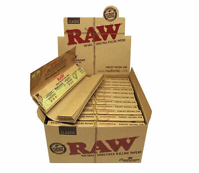 Full Box of 24 Booklets RAW Connoisseur King Size Slim Rolling Papers with Tips
