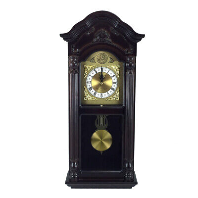New Bedford Clock Collection 25.5 Inch Antique Mahogany Cherry Oak Chiming Wall