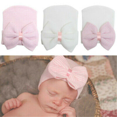 Newborn Baby Girls Infant Striped Soft Hat with Bow Cap Hospital Beanie Diomand