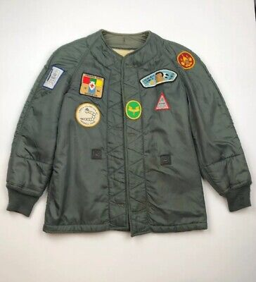 Vintage Boy Scouts Liner Camper Jacket Patched Wool Lining XS Green Preowned