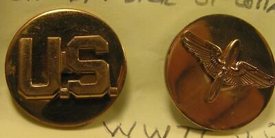 Ww2 Wwii Brass Military Usaaf Enlisted Badges-U.s. Collar Disc & Branch Badge