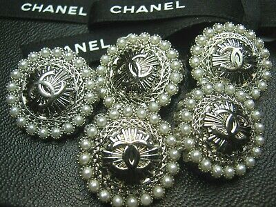 CHANEL 5 CC  silver, pearls 22mm CC LOGO BUTTONS THIS IS FOR FIVE