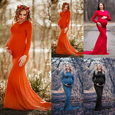Pregnant Women Long Maxi Dress Gown Maternity Photography Props Mother Clothes 0