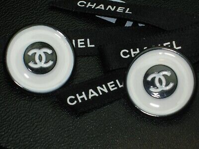 CHANEL 2 CC  OFF WHITE BLACK  24mm CC LOGO BUTTONS THIS IS FOR A SET OF TWO