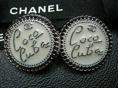 CHANEL 2 CC  OFF WHITE SILVER CUBA 20mm CC LOGO BUTTONS THIS IS FOR A SET OF TWO