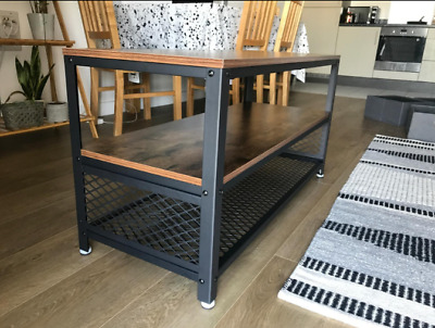 Industrial TV Stand Vintage Retro Cabinet Small Storage Shelf Rustic Wood Unit