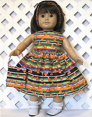 """Doll Clothes Fits 18"""" American Girl HANDMADE HALLOWEEN STRIPED CANDY CORN DRESS"""